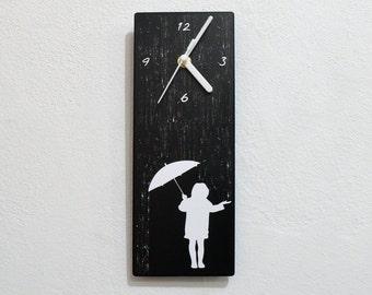 Girl In The Rain - Wall Clock