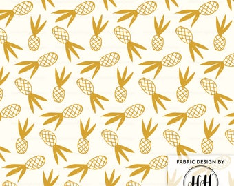 Pineapple Doodle Fabric By The Yard / Pineapple Fabric / Tropical Fabric / Cotton Quilting Print in Yard & Fat Quarter