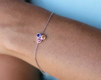 Sterling Silver Birthstone Bracelet , Mothers Bracelet , Grandmothers Bracelet , Birthstone Jewelry , Personalized Jewelry Family Bracelet