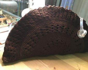 1940's  vintage crochet knit brown clutch purse with metal zipper