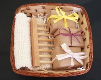 Mother's Day Gift, Pamper Basket, Gift Set, Soaps, Vegan Soaps, Vegan Gift, Vegan Mum, Soap Dish, Soap Mitt, Luxury Soap,  Eco Friendly Gift