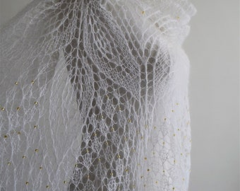 "Handmade bridal stole ""Anna"" knitted in white mohair with a golden beads"