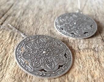 CLEARANCE Shield Earrings, Moroccan Earrings, Silver Shield, Long Silver Earrings, Dangle Earrings, Bohemian Earrings, Bohemian Jewelry