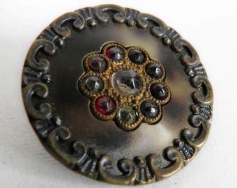 Antique Stamped Brass Button with Rhinestones