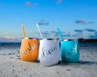 12 Oz Stainless Steel Stemless Wine Tumblers, Bev Steel Stainless Double Wall Insulated Wine Tumblers, BPA Free, Non-Toxic Powder Coated