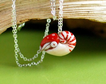 Nautilus Necklace, cephalopod marine biology mermaid jewelry animal totem ocean pendant