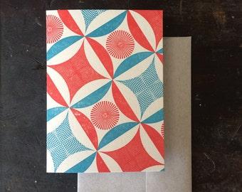 Robbing Peter Letterpress Notecard - Tomato & Blue