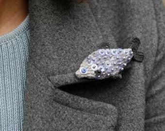 Fish crochet brooch - whimsical jewelry - grey fish pin