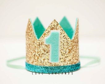 Mint Gold Birthday Crown, First Birthday Crown, One Birthday Crown, Mint Gold Felt Crown, Mint Gold Birthday, Mint Gold Felt Hat, Felt Crown