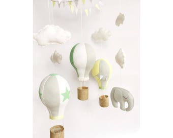 Baby Mobile / Hot Air Balloon Mobile / Crib Mobile / Felt Mobile / Elephant Wooden Mobile / Clouds Mobile / Nursery Mobile / Grey and Yellow