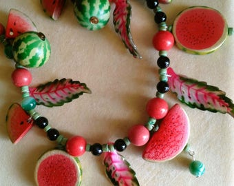 Vintage Red& Green Wooden Watermelon Necklace. Long Leaf Necklace, Large Wood Beads. Valentine's, Christmas - Summer Fruit by enchantedbeas