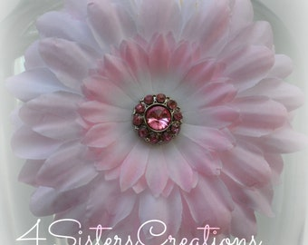 Light Pink Artificial Daisy with Light Pink Rhinestone Center