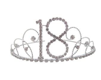 18th Birthday Diamante Crystal Tiara - Silver Plated Finish