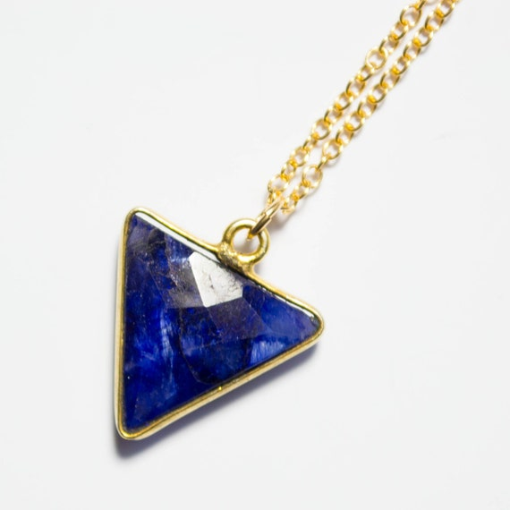 Items Similar To Gold Sapphire Necklace Blue Triangle