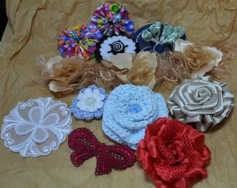 Destash Lot, Flowers, Appliques, Gold Trim, Embellishments, Clips for Hats, Apparel or Crafts, Bin 3