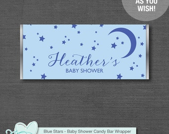 Blue Stars Candy Bar Wrapper Personalized, Baby Shower Printable, Customized, Hersheys Wrapper, Stars and Moon, Boy, Twinkle Twinkle, 1S