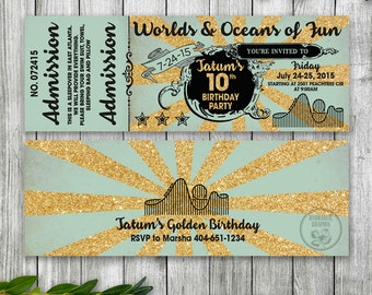 Golden Birthday, Glittery Gold Ticket Invitation, Six Flags or Theme Park Ticket Invitation, Roller Coaster Party Invitation, Printable