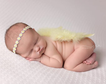 Yellow Feather Wings with daisy headband, newborn photo prop, photography prop, baby girl prop, newborn photography