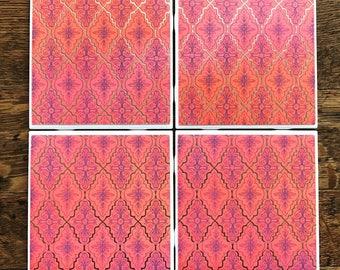 Purple detail tile coasters