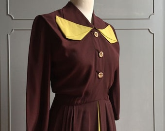 1940s dress brown & mustard Size S Rayon / color Block