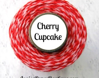 Cherry Cupcake Trendy Bakers Twine - Pink and Red, Valentine's Day - for Crafting, Packaging, Decorating - Treats ,Favors, Parcel, Baking