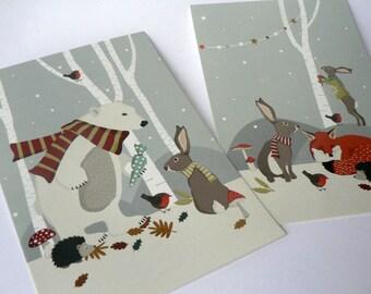 Set of 2 Christmas postcards