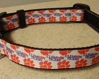 "Clemson Tigers Orange and Purple 1"" wide Adjustable Dog Collar"