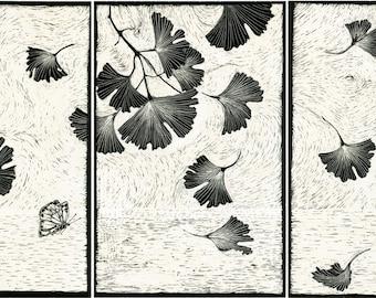 Art Print Gingko Tryptych from Scraperboard Original