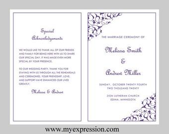 Wedding Program Template-Purple Filigree – Instant Download - Editable MS Word File