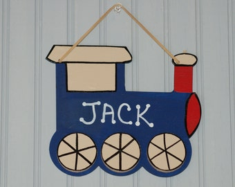 TRAIN Name Sign. Personalized Train Cutout Design, Blue. Boy's room decor. Kid's Door Plaque. Boy's Room Sign. Boy's Door Sign. Wall Art.