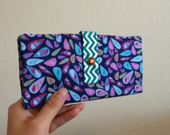 Fun Purple and Teal Print - Long Wallet Clutch - Card Slots, Zipper, Cash