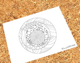 Abstract coloring page for adults. Printable coloring page, Abstract circle coloring page  hand-drawn.
