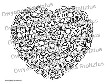 Heart with Ribbon Coloring Page JPG