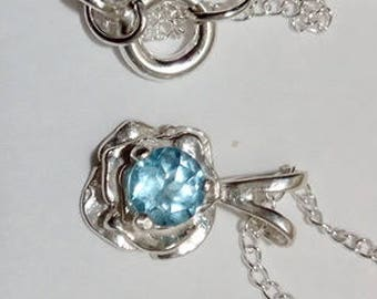 4mm round sky blue topaz 925 sterling silver rose pendant necklace