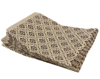 TAX SEASON Stock up 100 Pack 4 X 6 Inch kraft Color Damask print Flat Paper Merchandise Bags