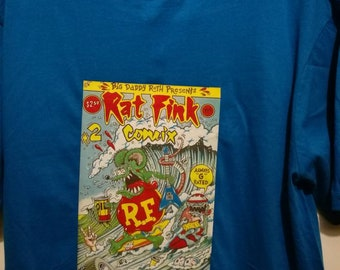 Retro 'Ratfink' comic T-shirt. Features the cover art of the 1987 Rat Fink Comic #2 by R.K.Sloane.