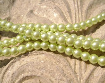 Pearlescent Glass Pearl Pearls Beads Light Green Lime 6mm Round LARGE 30mm Strand