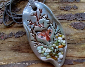 Ready to ship Woodland fox pendant OR ornament rustic jewelry includes cord forest animals nature fox den sculpted pendant nature themed