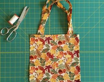 Fall Leaves Print Fat Quarter Tote Bag, Fabric Gift Bag, Small Cotton Tote