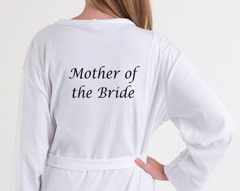 Mother of the Bride dressing gown/bath robe in a cotton material.