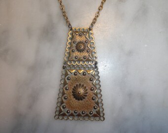 Vintage Art Deco Gold and Bronze Tone Pendant Necklace Aztec Tribal Chest Plate Style