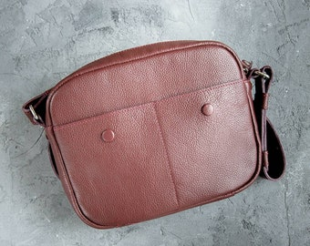 Crossbody bag - Burgundy color bag - small bag - messenger bag - leather shoulder bag - gift for mom - bag for daughter - women bag - bag