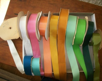 "Vintage grosgrain ribbon in colors vintage cotton and rayon 1 1/2"" width"