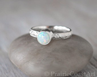 Sterling Silver Opal Ring  - Handcrafted Birthstone Ring -  Opal stacking Ring - October Birthstone Ring