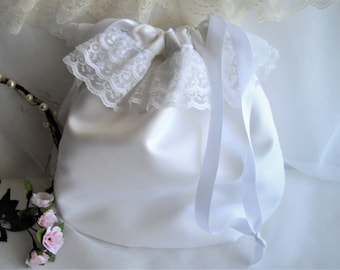 Satin And Lace Bridal Drawstring Bag Wrist Let Vintage Inspired Wedding Purse Fits Smart Phone And More Handmade by handcraftusa Etsy