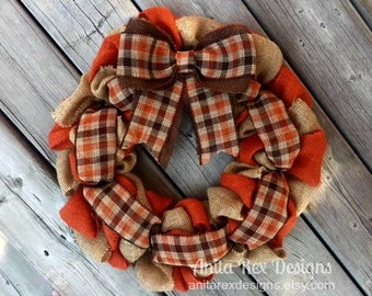 Fall Burlap Wreath, Orange Brown Burlap Wreath, Fall Wreath, Plaid Wreath