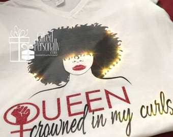 Queen Crowned in My Curls T-shirt