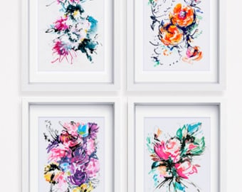 Flower watercolor art, print set of 4, watercolor abstract, colorful art, flower wall décor, floral modern painting, modern art print