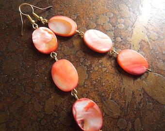 Fiery Mother of Pearl Beaded Dangle earrings