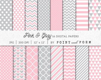 Pink Digital Paper, Pink Digital Scrapbook  Pack, Gray, Chevron, Polka dot, Stripes - Commercial Use